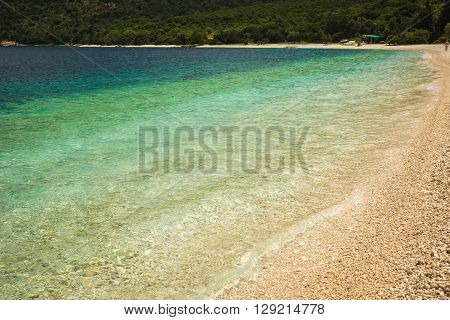 Incredibly Beautiful Color Of Sea Water On The Beach Antisamos