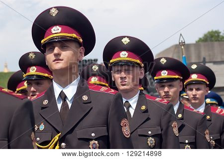 Kyiv, Ukraine - May 8, 2009: Young army cadets stand in formation as a guard of honor at Victory Day celebration at the Museum of The History of Ukraine in World War II in Kyiv