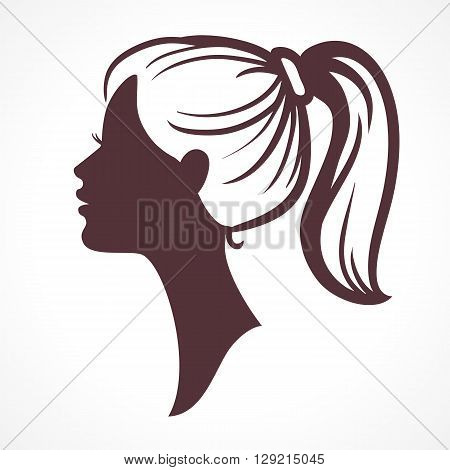 Woman face silhouette. Girl head. Profile silhouette of pretty female face with hair tail