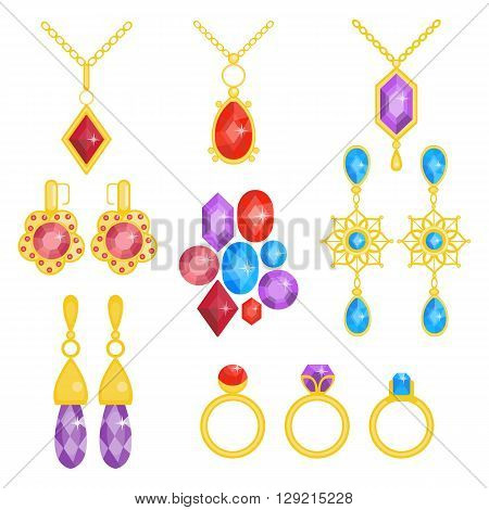 Precious jewelry set. Gemstones and gold collection. Vector illustration of gold jewel. Precious accessories for women. Flat cartoon style