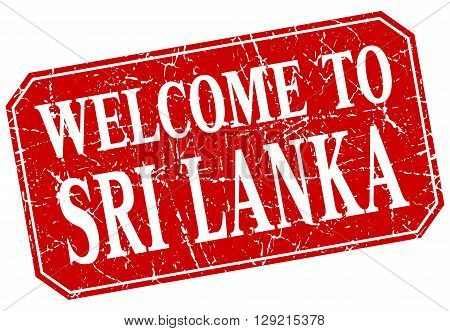 welcome to Sri Lanka red square grunge stamp
