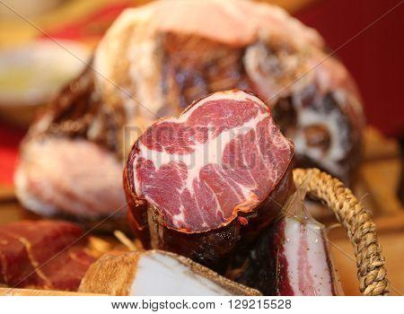 Sirloin In The Butcher In Lazio Region In Italy