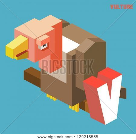 V for vulture. Animal Alphabet collection. vector illustration