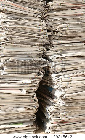 Pile Of Many Newspapers Used Recyclable Waste Collection Centre
