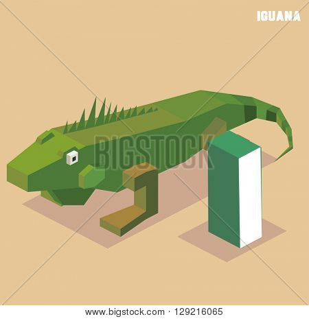 I for iguana. Animal Alphabet collection. vector illustration