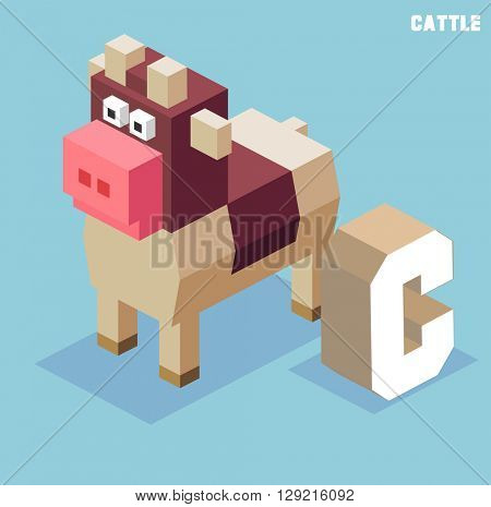 C for Cattle, Animal Alphabet collection. vector illustration