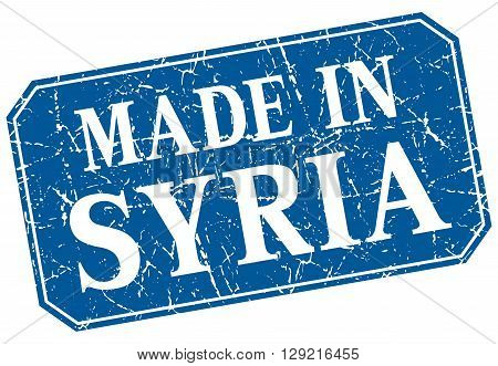 made in Syria blue square grunge stamp