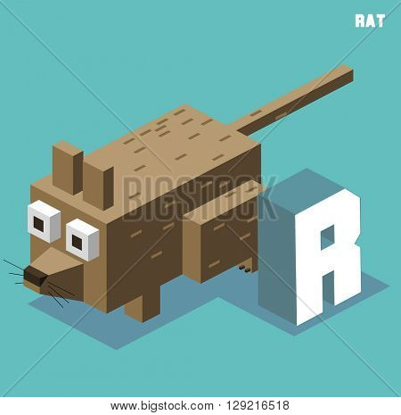 R for Rat, Animal Alphabet collection. vector illustration