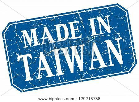made in Taiwan blue square grunge stamp