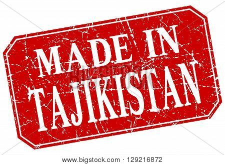made in Tajikistan red square grunge stamp