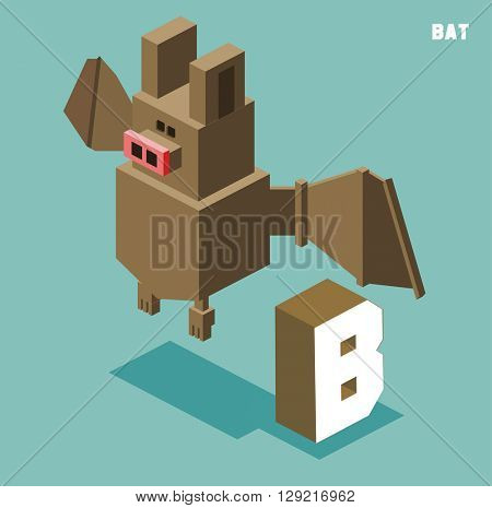 B for bat, Animal Alphabet collection. vector illustration