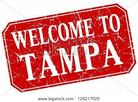welcome to Tampa red square grunge stamp