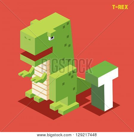 T for t-rex. Animal Alphabet collection. vector illustration