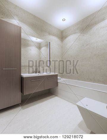 Modern bathroom with brown furniture large mirror white laminate flooring. 3D render
