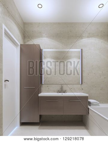 Minimalist private bathroom interior with plaster textured wall gray olive color and medium taupe furniture. 3D render