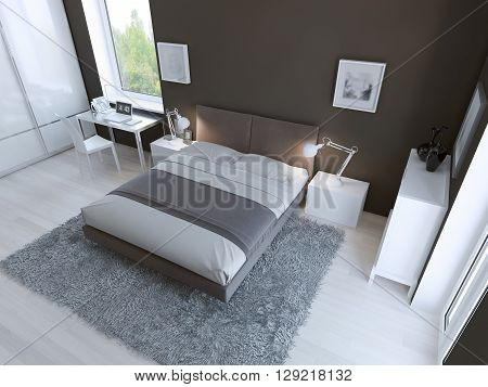 High-tech bedroom interior with thick pile carpet of light grey color light linoleum flooring and dark taupo colored walls. 3D render