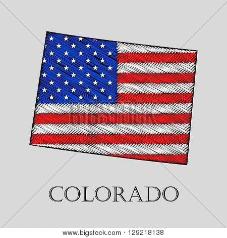 State Colorado in scribble style - vector illustration. Abstract flat map of Colorado with the imposition of US flag.