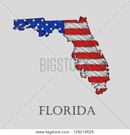 State Florida in scribble style - vector illustration. Abstract flat map of Florida with the imposition of US flag.