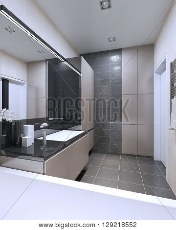 Idea of bathroom with mixed walls. High-tech interior of one of the most contrasting interior of bathroom where uses lights beige color and dark gray. 3D render