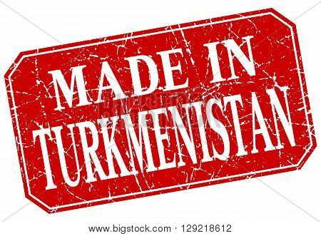 made in Turkmenistan red square grunge stamp
