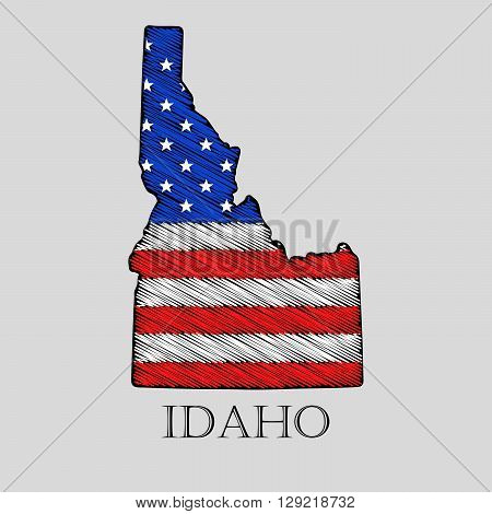 State Idaho in scribble style - vector illustration. Abstract flat map of Idaho with the imposition of US flag.