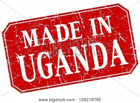 made in Uganda red square grunge stamp
