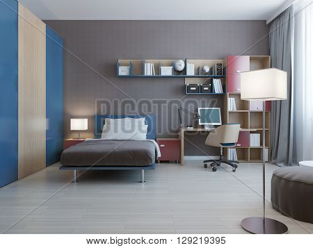 Table with wall system in modern bedroom. Wall system in blue and red colors dressed bed with pillows and large closet with blue sliding doors. 3D render