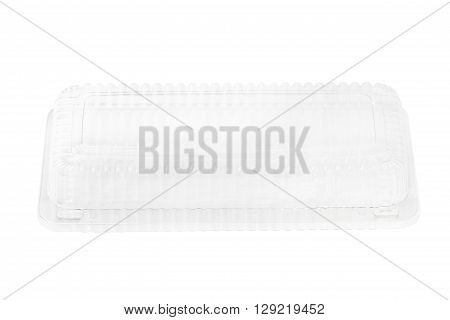 Empty transparent plastic storage box of food package on white background