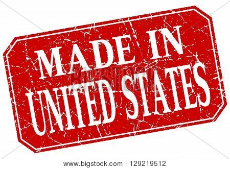 made in United States red square grunge stamp