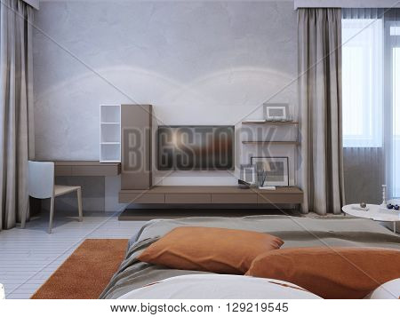 Medium taupe color wall system in contemporary bedroom. 3D render