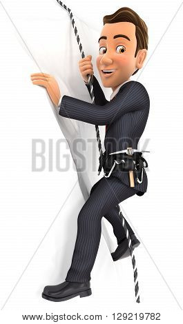 3d businessman climbing a mountain isolated white background