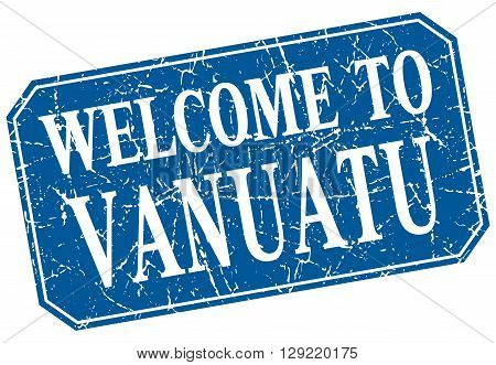 welcome to Vanuatu blue square grunge stamp
