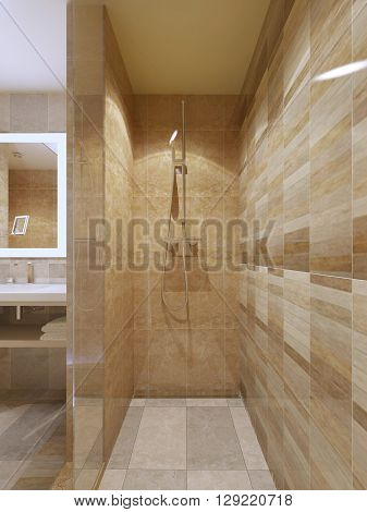 High-tech shower in bathroom with marble tile walls glass doors. 3D render