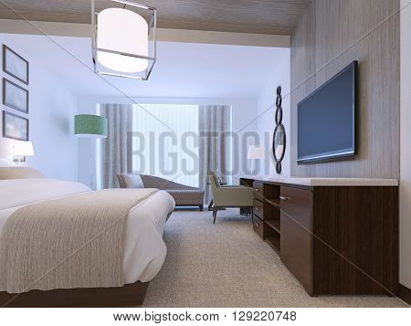 White bedroom with decorative niche of zebrano light wood. Brown furniture with white countertop. Dressed beb with blanket. Tick pile carpet flooring. 3D render