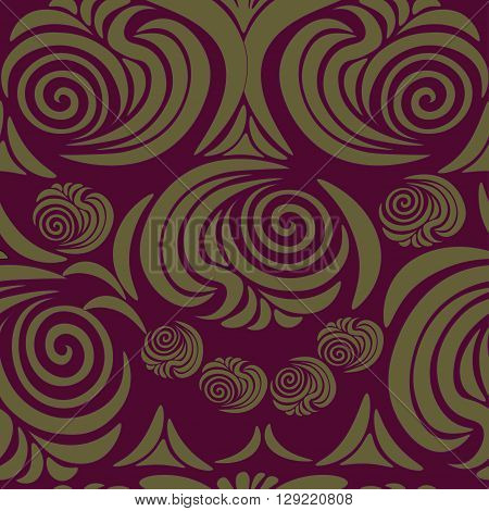 stylized floral ornament seamless graphics maroon vector illustration