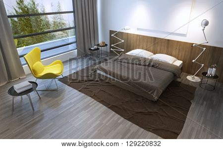 Interior of the comfortable bedroom in brown color panoramic window and beautiful nature outside. 3D render