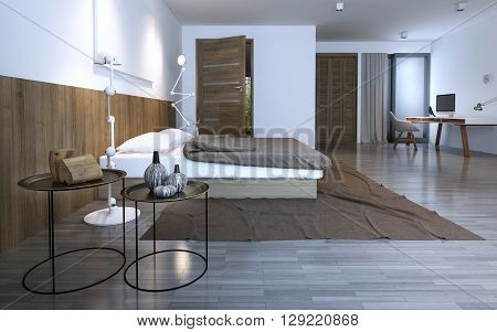 Idea of minimalist bedroom in private house. unusual round coffe tables brown theme. 3D render