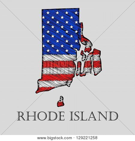 State Rhode Island in scribble style - vector illustration. Abstract flat map of Rhode Island with the imposition of US flag.