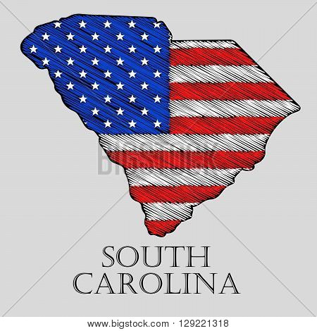 State South Carolina in scribble style - vector illustration. Abstract flat map of South Carolina with the imposition of US flag.