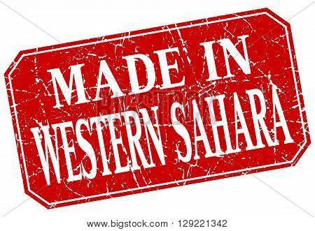 made in Western Sahara red square grunge stamp