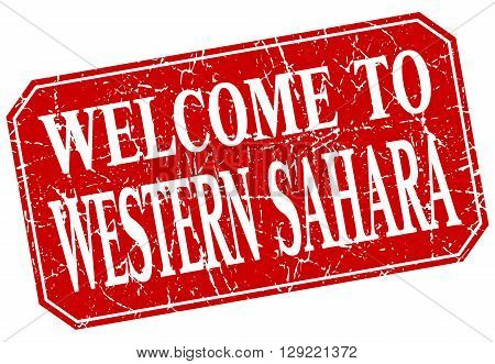welcome to Western Sahara red square grunge stamp