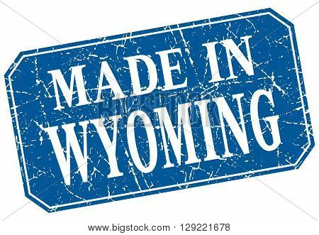 made in Wyoming blue square grunge stamp