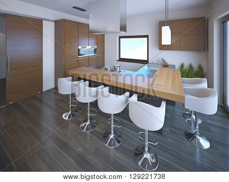 Interior of kitchen with bar in modern style. 3D render