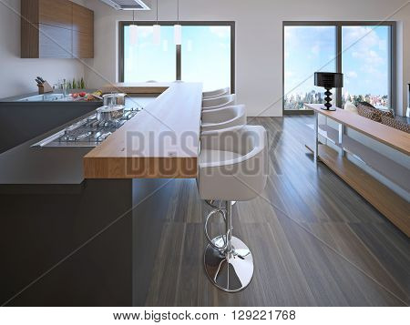 Modern apartment with beautiful view of window. 3D render