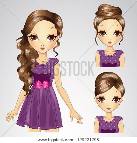 Vector illustration of beautiful brunette hair girl with different hairstyles in purple dress