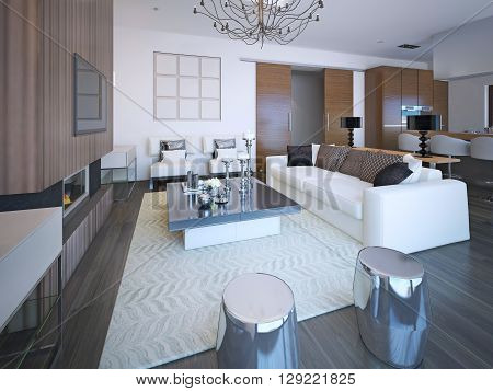 Trendy furniture in large cozy living room in beautiful apartment with white walls. 3D render