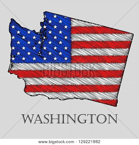State Wisconsin in scribble style - vector illustration. Abstract flat map of Wisconsin with the imposition of US flag.