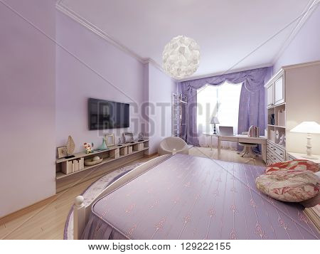 bedroom in classic style. Large bed for a good sleep. Room combines the living and working area as perfect. Bright interior. 3D render.