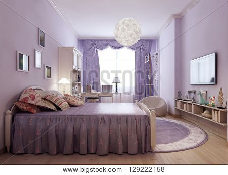 bright provence room idea. Luxurious bed with pillows made in classic style. Shelves with books and decor. 3D render