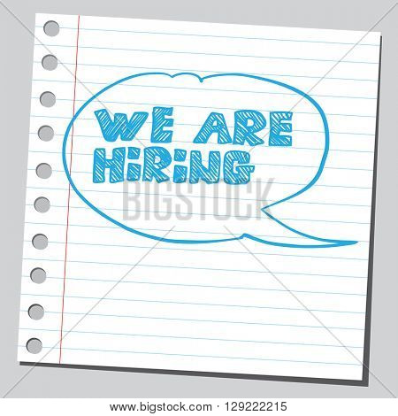 We are hiring phrase in comic bubble